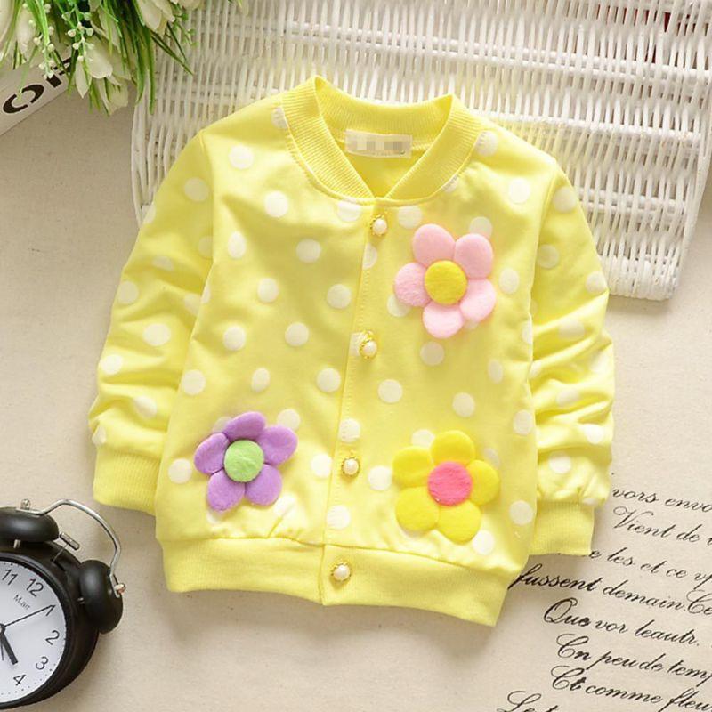 Spring & Autumn Baby Toddler Kids Girls Cotton Jacket Zip Jacket Girl three flower dots cardigan long sleeve coat gathered zip sleeve flight jacket