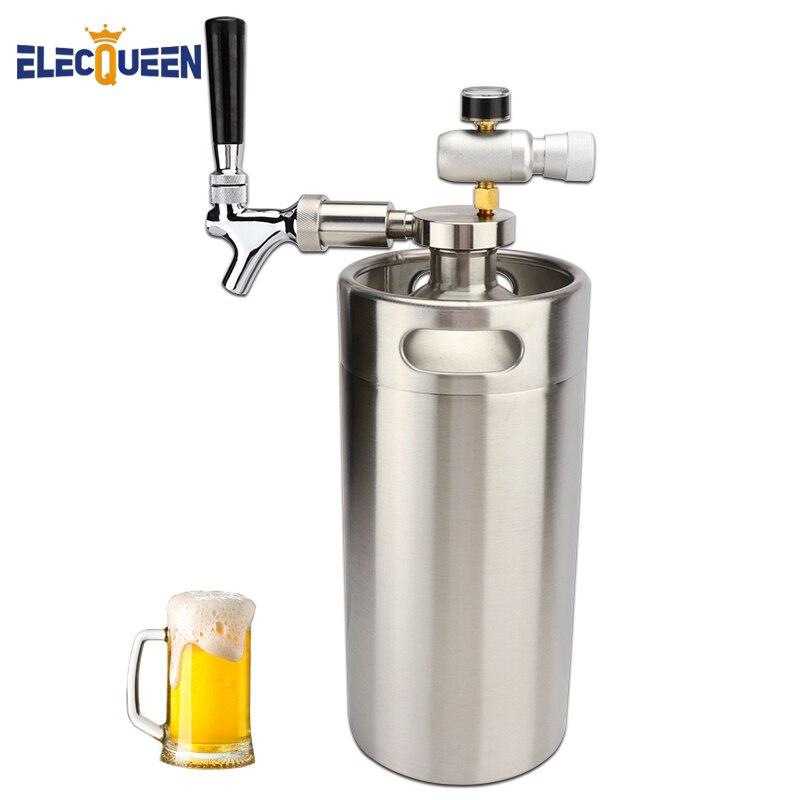 Mini growler spears Lance La Bière avec Robinet Robinet avec CO2 Injecteur Prime & 3.6L Mini Bière En Fût Growler