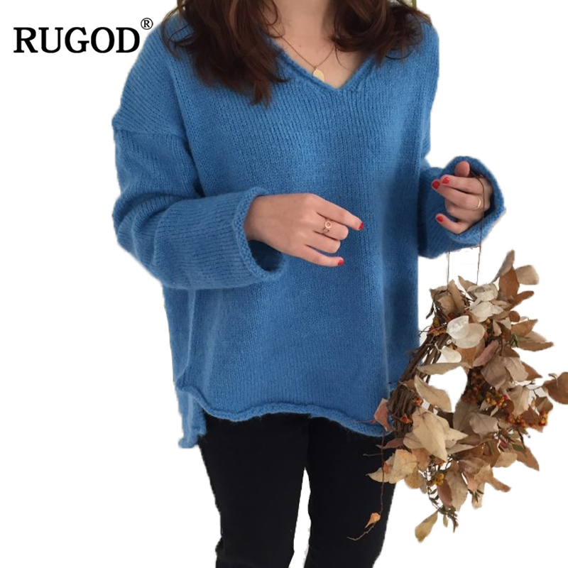 RUGOD Solid V-neck Hot Sale Christmas Sweater Long Sleeve Loose Pullover Women Winter Comfortable Elegant jersey mujer invierno
