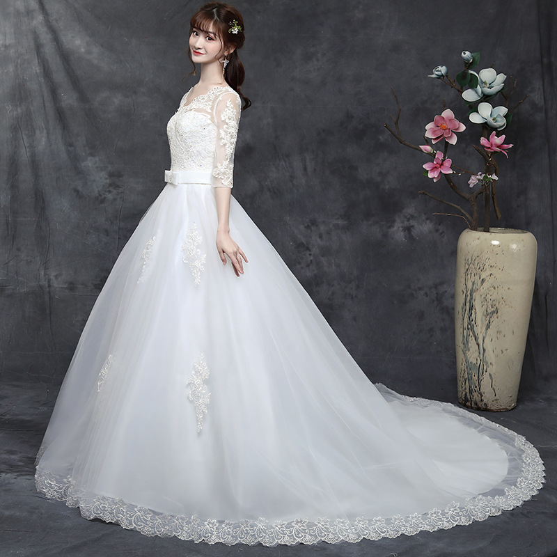 Noble Elegant Big Trailing Wedding Dress Lace V-neck Wedding Gown  Princess Wedding Dresses Embroidery Bridal Gowns