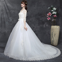 noble elegant Big trailing Wedding Dress Lace v-neck Gown  Princess Dresses embroidery Bridal Gowns