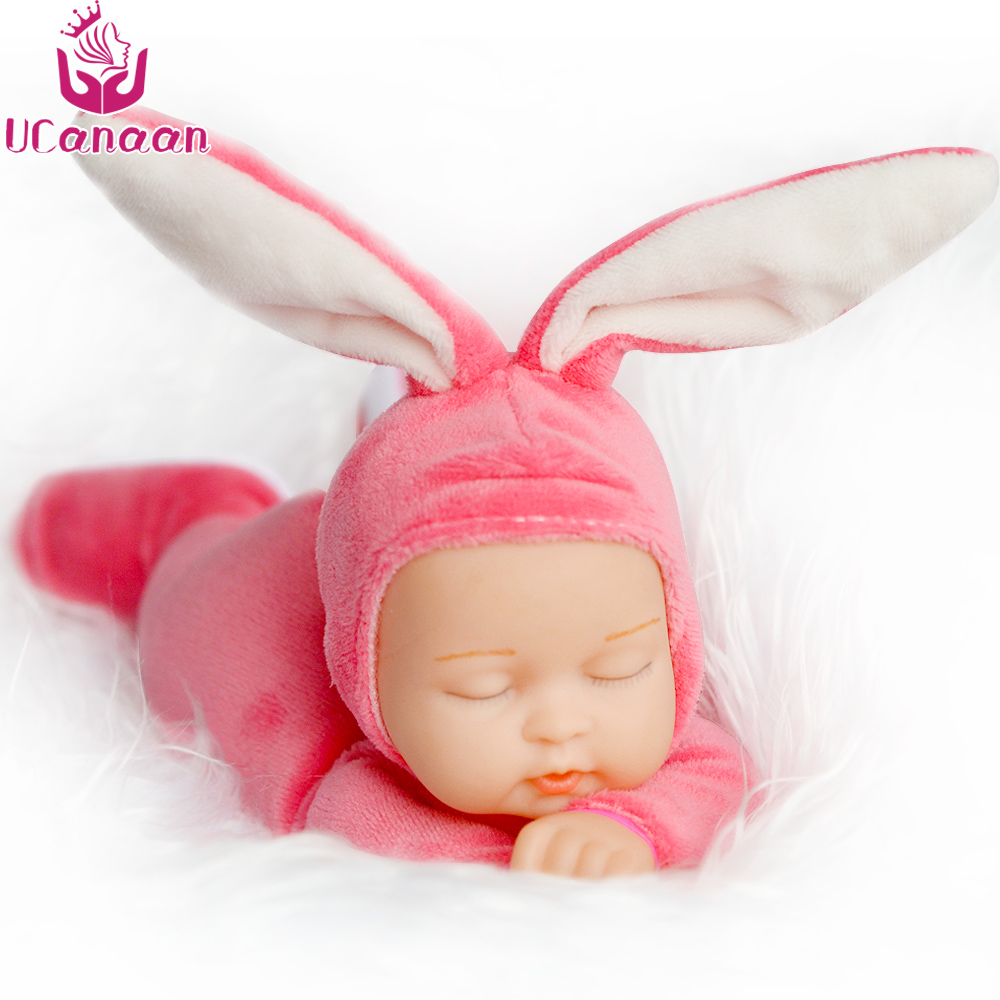 UCanaan Sleeping Rabbit Plush Toys For Children Simulated Babies Sleeping Dolls Kids Toys Birthday Gift For Girls Doll Reborn mini kawaii plush stuffed animal cartoon kids toys for girls children baby birthday christmas gift angela rabbit metoo doll