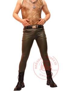 Image 4 - Stylish Male Khaki Cool Bright Thin Matte Light Imitation Leather Pants Men Stretch Tight leg pants Casual Leather Pants Stage