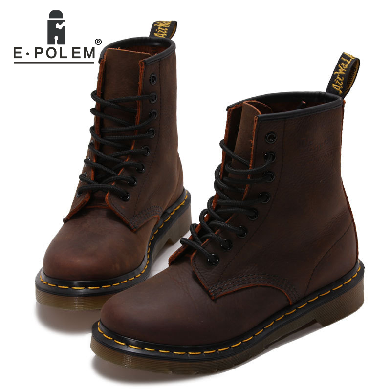Fashion Genuine Leather Boots Casual Autumn Ankle Boots Black Martin Shoes Unisex short martin Boots Motorcycle Boots tide black genuine leather martin boots brogue ankle boots shoes unisex women motorcycle spring autumn brock martin boots 2017