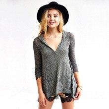 Slim Irregular Hem Hoodies Knitted Shirt Long Sleeve Cotton Pullover Bottoming Shirt Autumn Women'S Clothes H71 AA