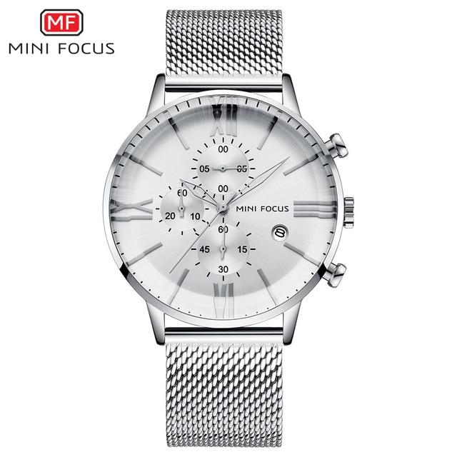 MINI FOCUS 2019 New Fashion Quartz Mens Watches Ultra Thin Black Mesh Strap Waterproof Business Chronograph Display Wristwatches | Fotoflaco.net