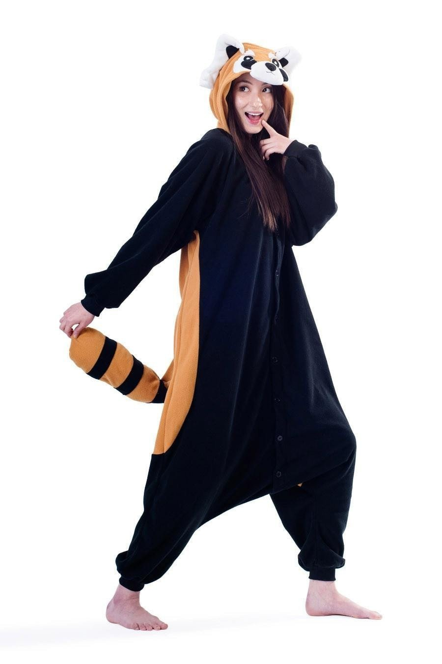 Unisex Fleece Adult Raccoon Onesies Animal Cosplay Costume Halloween Xmas Pajama