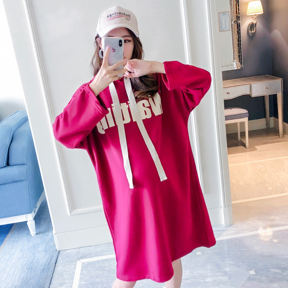 New autumn and winter Korean version of the loose long section maternity dress long sleeved out of pregnancy letter hooded shirt