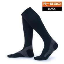 R-BAO 1 Pair High-quality Marathon Men's Cycling Socks Compression Running Socks Outdoor Sports Long Knee High Bicycle Socks marathon cycling running men sports socks outdoor hiking trekking compression socks