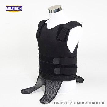 Militech черный NIJ IIIA 3A 0101,06 & NIJ 0101,07 HG2 маскируемая под рубашкой Twaron Aramid пуленепробиваемый жилет скрытый баллистический жилет