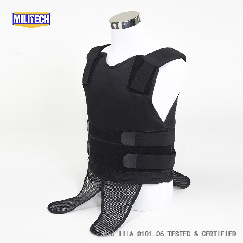 Militech Black NIJ IIIA 3A Concealable Under Shirt Twaron Aramid Bulletproof Covert Ballistic Bullet Proof Vest Body Armor Vest bulletproof vest military tactical army concealable bullet proof bullet proof vest chaleco antibalas low profile body armor
