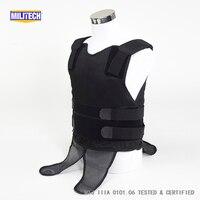 Militech Black NIJ IIIA 3A Concealable Under Shirt Twaron Aramid Bulletproof Covert Ballistic Bullet Proof Vest Body Armor Vest