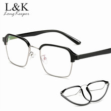 Long Keeper Square Spectacles Fashion Ultra Light Flexible Acetate TR90 Glasses Frames Comp