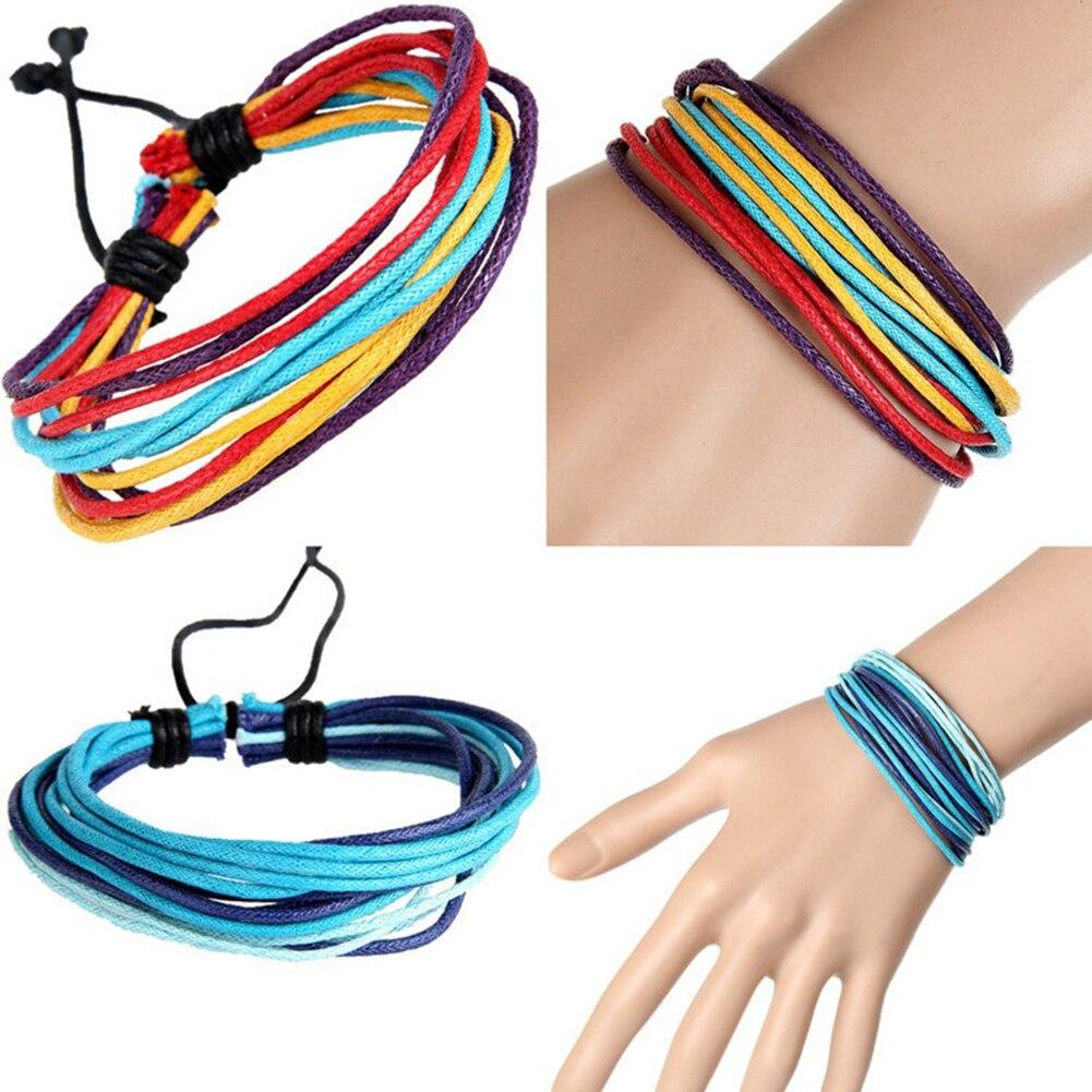 Bluelans Fashion Men Women Multilayer Wax Rope Bracelet Ethnic Style Handmade Bangle Gift