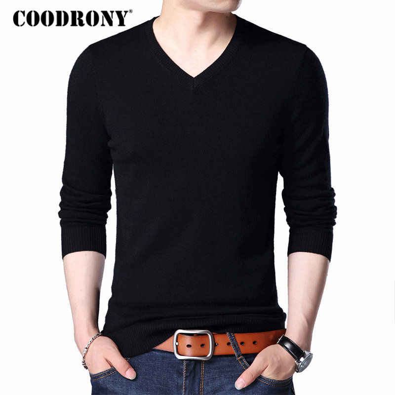 COODRONY Sweater Men 2018 Autumn Winter Plus Size Knitwear Multicolor V-Neck Pull Homme Cashmere Pullover Men Wool Sweaters 7186