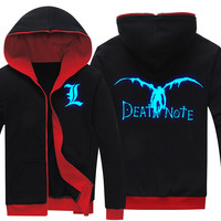 Drop Shipping Spring Antumn DEATH NOTE Glowing Printed Fashion Men S Hoodies Mens Jacket Fleece Hooded