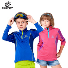 2017 New TECTOP Boys girls Windproof jacket Spring autumn Long sleeve Cycling hiking Children's outdoor Quick drying clothing