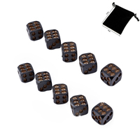 85b1a6c4bb987 10pcs Set Black Skull Dice And 1PC Dice Bag Poker Dice Play Game Dice Tower  With
