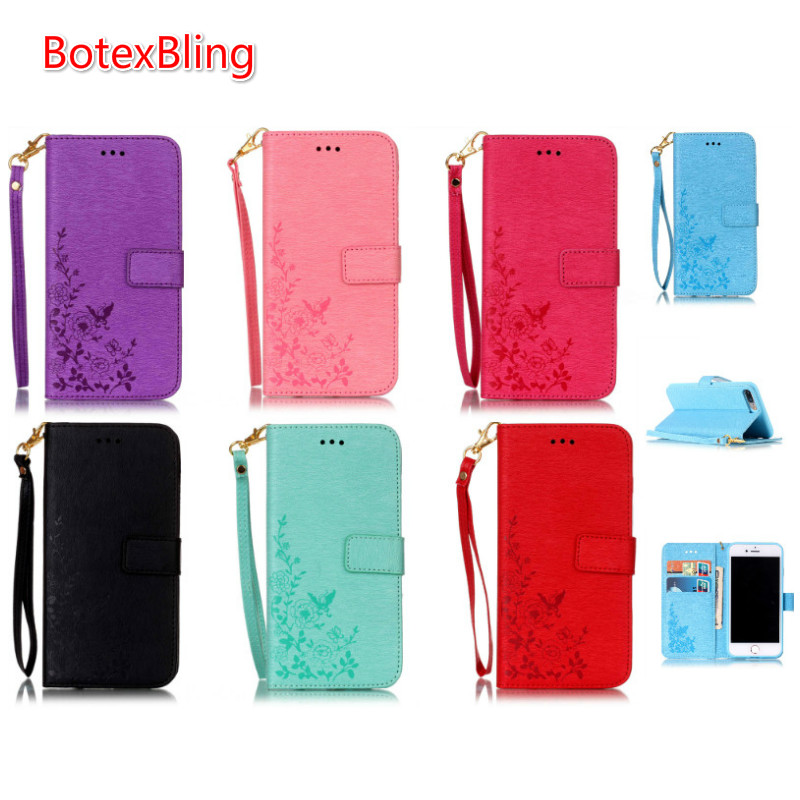 BotexBling Luxury Butterfly flower flip card card wallet Cover case for iphone 7 7plus mobile phone bag capa Lanyard PU cover
