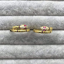 TIFF APM 925 Sterling Silver Stud Earrings, Golden Snake Earrings, stylish temperament, classic elegant ladies jewellery.(China)