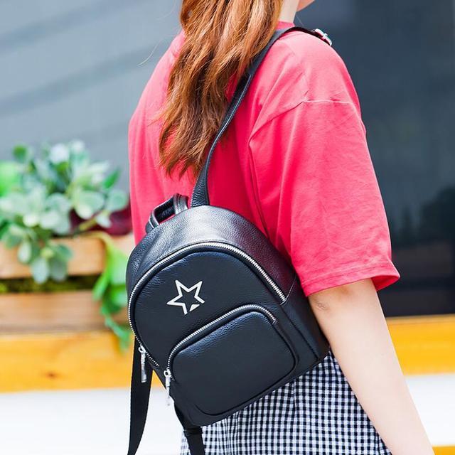 FoxTail   Lily Metal Pentagram Design Genuine Leather Backpack Korean  Popular School Bags for Teenage Girls Hot Travel Backpacks 87eb1e709e
