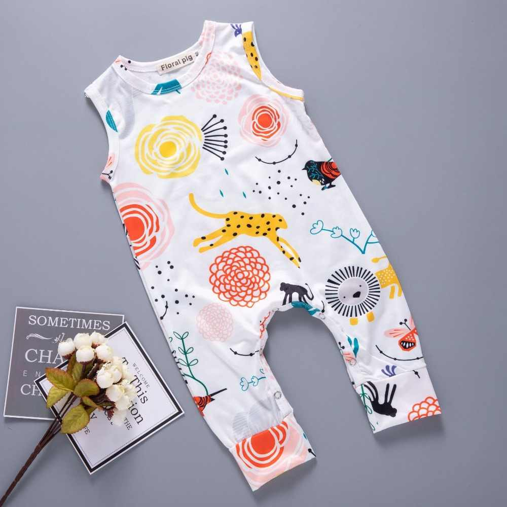 1b493bd77f17 2018 Newborn Baby Romper Jumpsuit White Sleeveless Tiny Cotton Floral  Toddler Infant Clothing Onesie Playsuit Boy