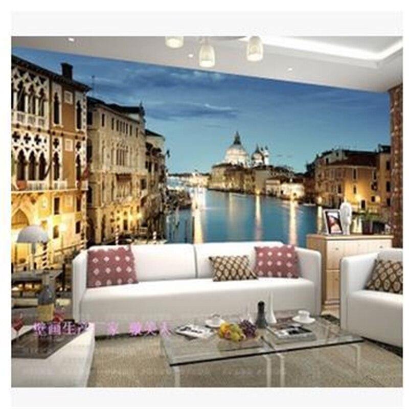 Beibehang Custom Wallpaper 3d Stereoscopic Venetian Night Murals TV Backdrop Living Room Bedroom Papel De Parede Flooring In Wallpapers From Home
