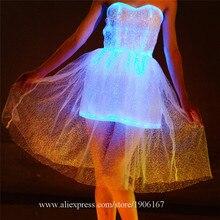 5dfe94b015c Led coloré lumineux fête soirée robe musique Festival Concert mariage  Costume Fiber optique éclairage mascarade Led vêtements