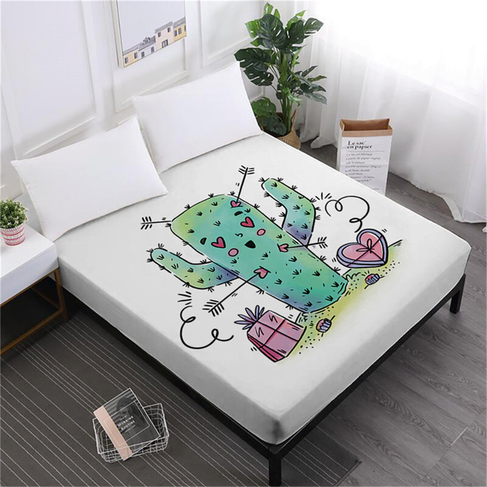 Green Cactus Bed Sheet Cartoon Fitted Twin Full King Queen Bedding Deep Pocket Kids Bedroom Decor Bedclothes D45