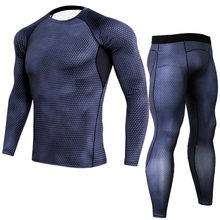 Hommes Compression sous-vêtement thermique Ensembles jogging Costumes Vêtements Sport Ensemble T-shirt Et Pantalon de Sport Collants De Remise En Forme vêtements(China)