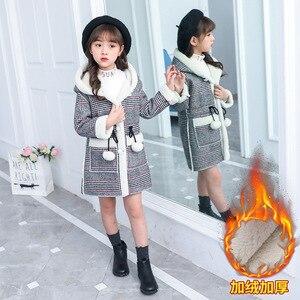 Image 2 - ファッション女の子のためのウォームジャケット冬の格子縞のフード付きコートパーカー上着子供女の子厚いオーバーヘビー級 4 14Y 子供