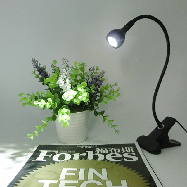 Black LED Desk Lamp with Clip