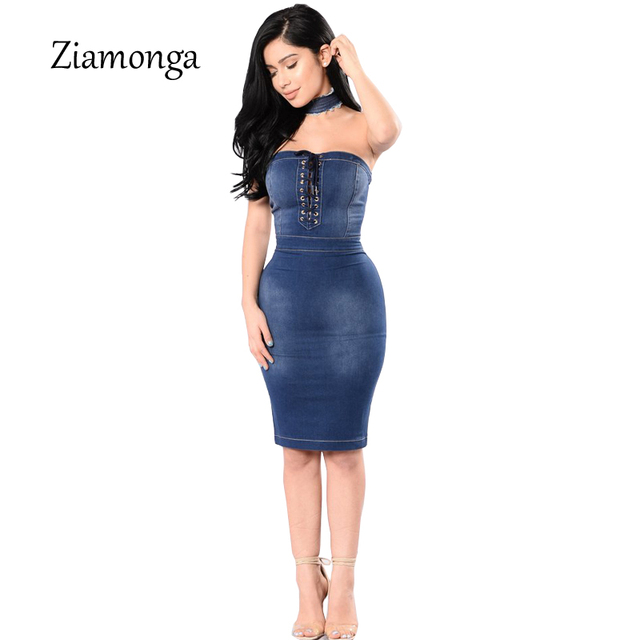 Ziamonga 2017 Sexy Denim Dress Women Bodycon Backless Sexy Lace Up Summer  Dress Casual Knee Length Midi Dress Plus Size Vestidos 1ae4e80c1