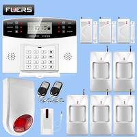 Wireless Home Security GSM Alarm System Intercom Remote Control Auto Dial Siren Sensor Kit English Russian Voice Prompt