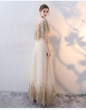 Vestido De Festa Stock Elegant Champagne Tulle Gold Shiny Appliques Lace A-line Mother of the Bride Dresses Lace-Up Prom Gowns