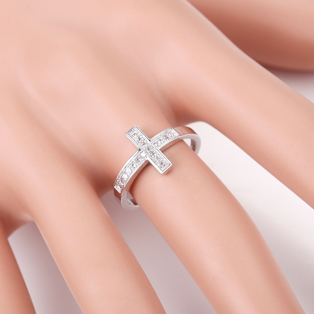 Pryme 925 Silver Clear Cubic Zirconia Ring Cross Design Engagement ...