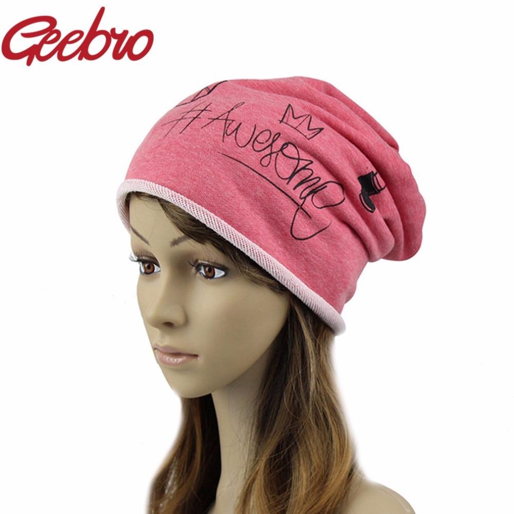 Geebro Funny Beanies Hats For Women 2017 Thin Solid Hats Women Winter  Skullies Cartoon Balaclava Bonnet Femme Spring Caps JS285-in Skullies    Beanies from ... 415a9752597