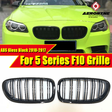 цены на 1 Pair ABS Gloss Black Front Kidney Grille Grill For BMW F10 520i 525i 528i 535 Double Slats Front Grille Auto Car styling 10-17  в интернет-магазинах