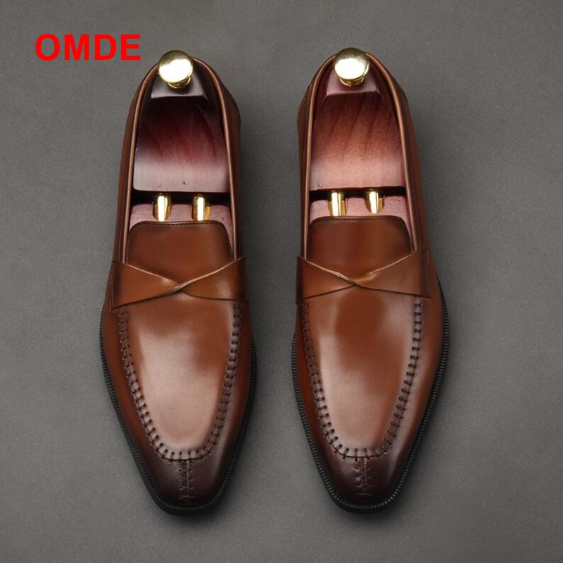 OMDE Summer New Fashion British Style Formal Shoes Men Dress Loafers Genuine Leather Men's Slip on Shoes Handmade Office Shoes