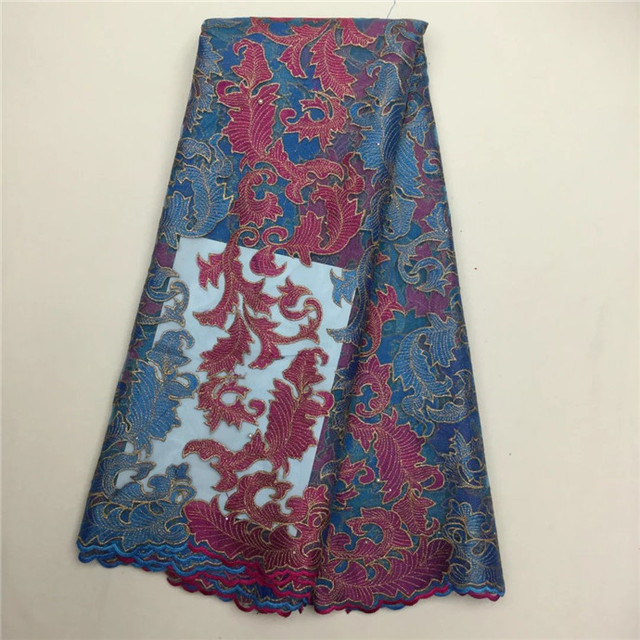 2016 패션 아프리카 코드 레이스 높은 품질의 멀티 컬러 코드 레이스 아프리카 guipure 레이스 패브릭 웨딩 드레스 (208