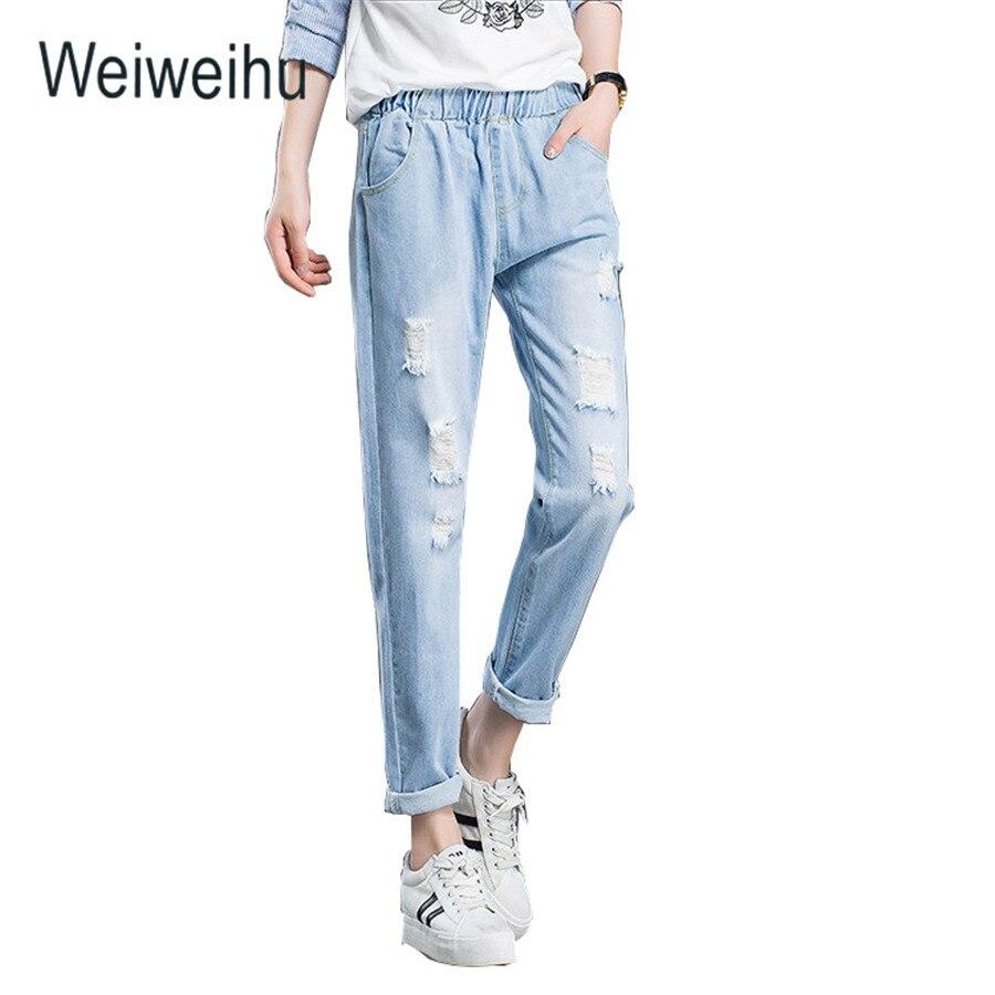 00b0e18b996d Women jeans high elastic waist ankle length pants classic blue ripped  ladies jeans female pant autumn