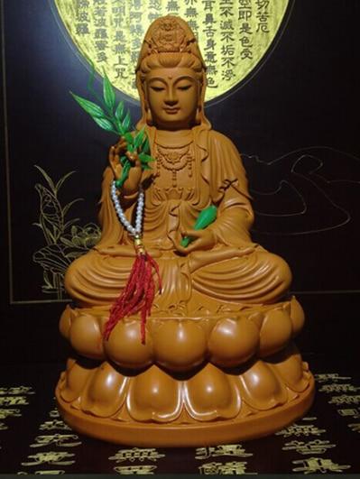 Chinese Religious Buddhism Handwork Guanyin Kuan Yin Sitting On Lotus Buddha Statue