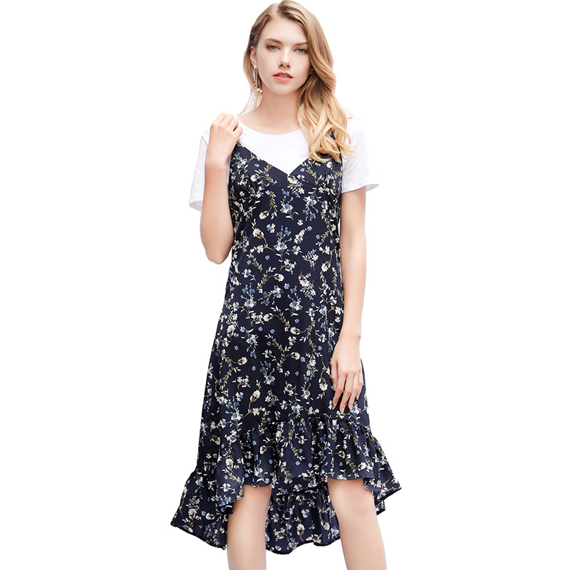 Wasteheart Summer Blue White Women A Line Dress Long Dresses V Neck Backless Evening Party Office Lady Sexy Dresses Plus Size in Dresses from Women 39 s Clothing