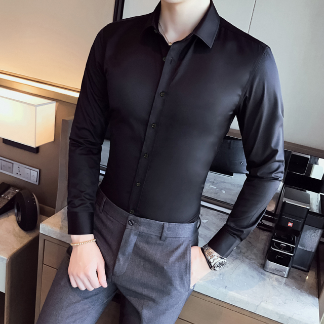 Chemise de Business à manches longues pour hommes, vêtements de marque, coupe étroite élastique, grande taille 2020 S 5XL