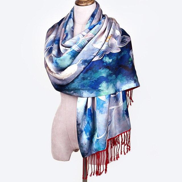 a8f0f7b05 HR049 New Fashion High-end 100% Silk Shawl Warm Double Tux Scarf Women Gift Winter  Scarf Women Accessories Ladies Tassel Scarves