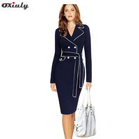 Women Spring Dresses 2016 Long Sleeve Notched Formal Dresses Wear To Work Plus Size 3xl Pencil