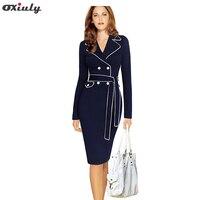 Oxiuly phụ nữ autumn winter dresses dài tay áo chữ v chính thức mặc để làm việc cộng với kích thước 3xl 4xl pencil dress với belt robe