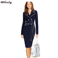 Oxiuly women autumn winter dresses long sleeve notched formal wear to work plus size 3xl 4xl pencil dress with belt robe
