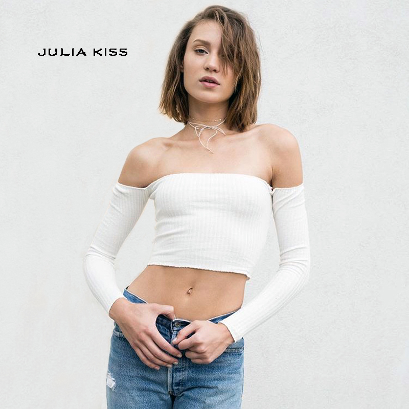 Women Off The Shoulder Long Sleeve Crop Top in Rib Sexy Slash Neck Ribbed Kniting Crop Tops Short Knitted Top