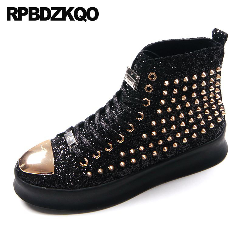 Creepers Sequin Spike Stud Elevator Black Glitter Shoes Trainers Sneakers  Hip Hop Skate Green Red Blue High Top Platform Men b7c8e28a2f